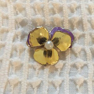 Vintage purple and yellow pansy pin